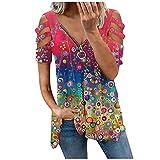 FREW Blusa para mujer, elegante, con cremallera, cuello en V, para verano, túnica suelta rosa XL