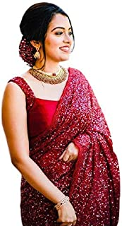Yazana Georegtte Heavy Sequnce work Saree With Blouse