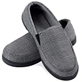 ZIZOR Men's Henry Tartan Slippers with Memory Foam, Cotton Knit House Slippers for Men Slip On, Lightweight Closed Back House Shoes with Indoor Outdoor Anti-Skid Rubber Sole (Light Grey, 8)