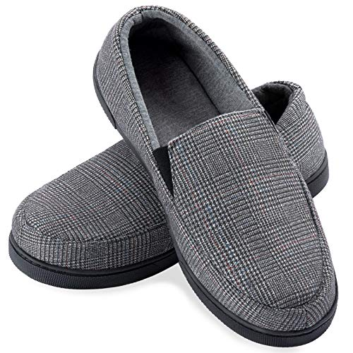ZIZOR Mens Plaid Slippers with Memory Foam, Cotton Knit House Slippers for Men Slip On, Lightweight Closed Back House Shoes with Indoor Outdoor Anti-Skid Rubber Sole (Light Grey, 10)
