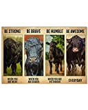 Farmer Poster Cow Vintage Be Strong When You are Weak Angus Abstract Wall Art for Living Room Home Decor Painting Prints Vintage Poster No Frame