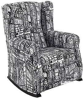 HOGAR TAPIZADO Sillón Relax, Orejero BALSA (Especial para Lactancia) tapizado en Tela Estampada New York Pop B/N 100 x 72 x 74