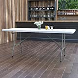 Flash Furniture 6-Foot Bi-Fold Granite White Plastic Banquet and Event Folding Table with Carrying Handle