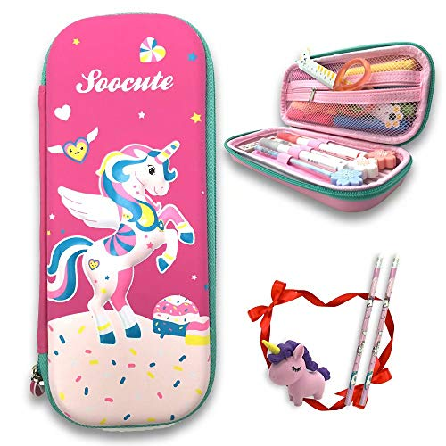 Pencil Cases for Kids Unicorn Cute Pink Pen Boxes with Scholl Supplies Multi-Slot Crayon Organizer
