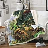 XCMMK La tela escocesa del lecho de la manta de lana de cordero de doble capa 3D es ligera y cómoda Dibujos animados anime dinosaurio jungla primitiva Medio 125x150cm (49.2x59 pulgadas) Regalos de vac
