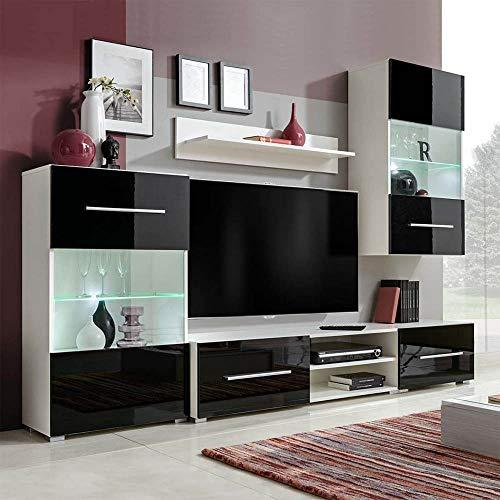Wohnwand 5er Set Fernsehwand Schrankwand Anbauwand Wohnzimmerschrank Möbel Set mit LED-Beleuchtung,Wandschrank, freistehender Schrank, TV-Schränke,Wandregal Schwarz &weiß