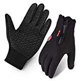 Image of Cycling Gloves, Waterproof Touchscreen in Winter Outdoor Bike Gloves Adjustable Size Black L