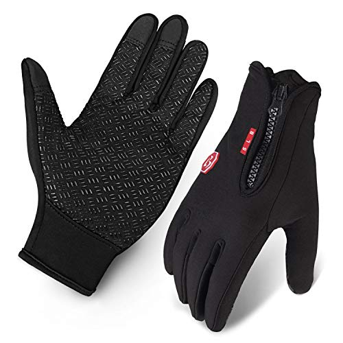 Cycling Gloves, Waterproof Touchscreen in Winter Outdoor Bike Gloves Adjustable Size Black M