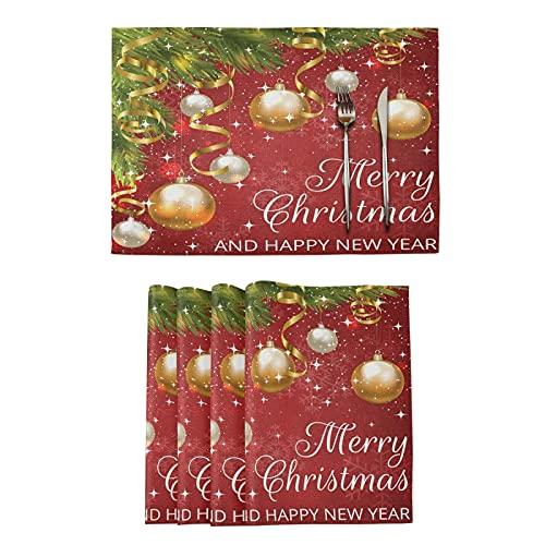 Feliz Navidad Bolas Mesas Esteras para Cocina Comedor Copos De Nieve Rojos Año Nuevo Manteles De Tapetes De Cocina Resistentes Al Calor para La Decoración del Hogar De Mesa
