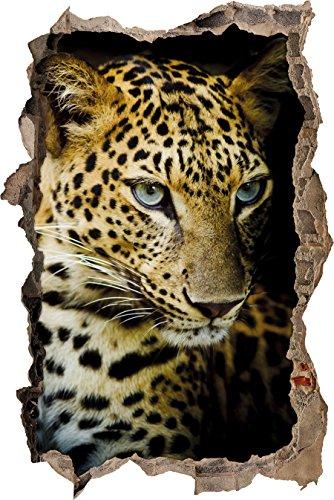 Pixxprint 3D_WD_1884_62x42 Anmutiger Leopard Wanddurchbruch 3D Wandtattoo, Vinyl, bunt, 62 x 42 x 0,02 cm