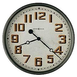 Howard Miller Hewitt Gallery Wall Clock 625-715 – 19.75-Inch Diameter, Aged Charcoal Gray Case, Metal Timepiece, Flat Glass Crystal, Antique Home Décor, Quartz Movement