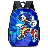 Sonic Zaino, Bambini Sonic The Hedgehog Zaino, 3D Big Bag Scuola, Zaino da Viaggio Degli Uomini per la Scuola per Bambini Bambini e Bambine (40 * 30 * 15)