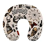 NiYoung Super Soft Travel Pillows U-Shaped Neck Pillow, Vintage Skull Skeleton Spider Web Witch Board Gothic Washable Cover Neck Pillow for Pain Relief Sleeping for Flight, Car Seat & Chair