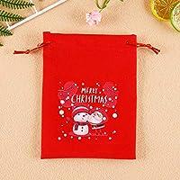 クリスマスギフトバッグ キャンディークッキーバッグ ホリデーギフトバッグ サンタクロース雪だるまのアイデアギフト袋 テキスタイルギフトバッグ 赤-D(5個)_20*15cm