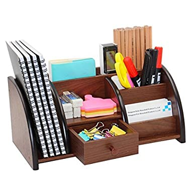 PAG Office Supplies Wood Desk Organizer Book Shelf Pen Holder Accessories Stroage Caddy with Drawer, 7 Compartments, Brown