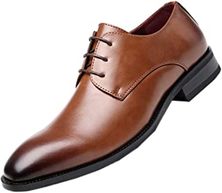 Leather Retro Oxfords for Men Formal Wedding Shoes Lace up Microfiber Leather Burnished Style Rubber Sole Vegan shoes (Color : Brown, Size : 40 EU)