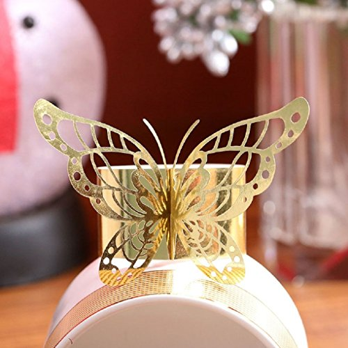 Set of 50 Laser Cut Purple Butterfly Paper Napkin Rings Holders Favors and Gifts Party Wedding Invitations Decor (Gold)