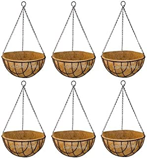 GARDEN KING 10 INCH Coir Hanging Basket with Chain | Designer Coir Hanging Flower Plant Container for Indoor and Outdoor (...