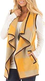 Women Vest Plaid Sleeveless Lapel Sherpa Jacket with Pockets
