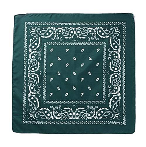 HRYM Paisley Turban Quadratisches Handtuch Wiederverwendbar Waschbar Gesichtsschutz Mehrzweck Turban 55 * 55 Cm 12 Stück Dunkelgrün