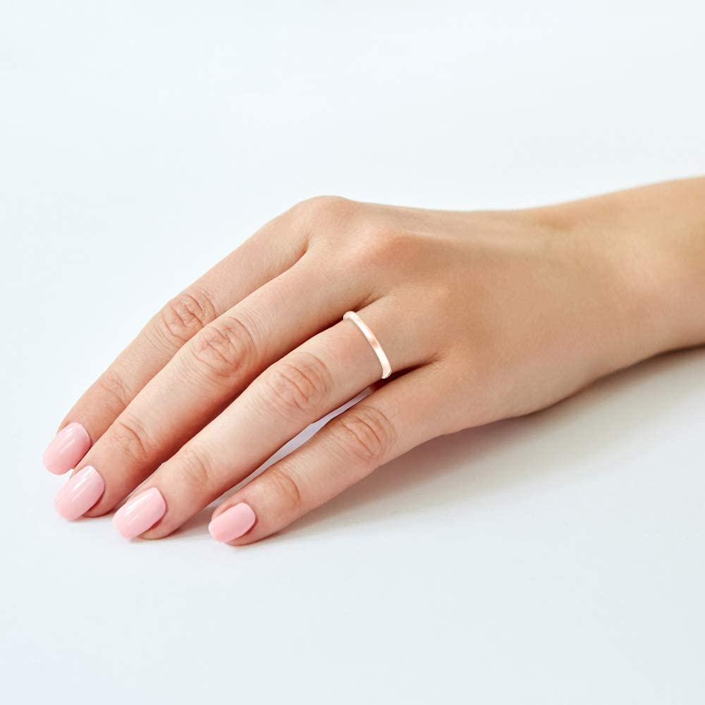 Women's 10K or 14K Rose, White or Yellow Gold 2MM Petite Classic Plain Wedding Band by Brilliant Expressions