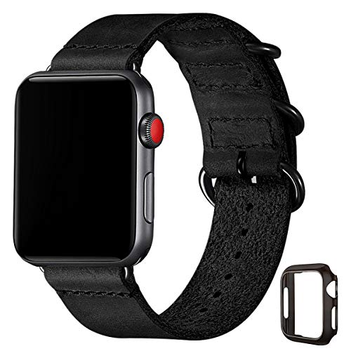 Vintage Leather Bands Compatible with Apple Watch Band 42mm 44mm,Genuine Leather Retro Strap Compatible for Men Women iWatch SE Series 6/5/4/3/2/1 (Black/Black, 42mm 44mm)
