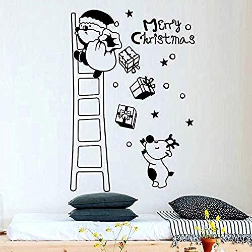 Diy Pvc Wandaufkleber Weihnachtswand Diy Frohe Weihnachten Wanddekoration Weihnachtsmann Geschenkbaum Schwarz