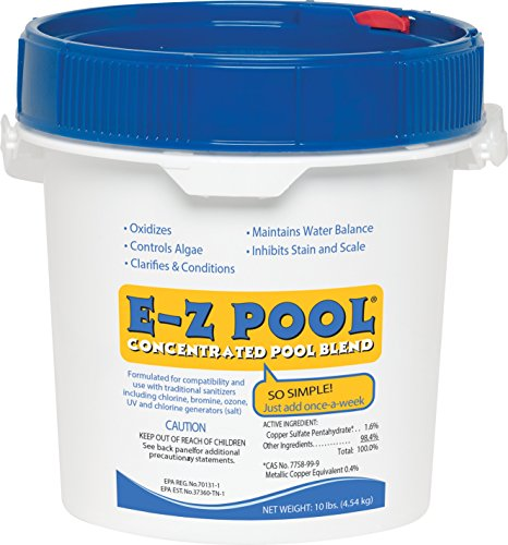 EZ Pool Weekly All in 1 Concentrated Outdoor Swimming Pool Care Solution Blend with Copper Sulfate and Oxygen Enriching Formula 10 Pound Bucket