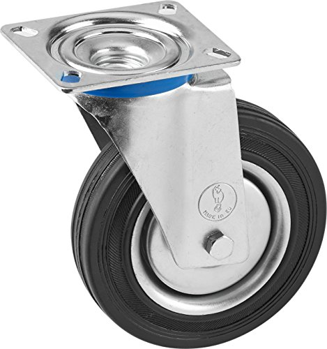 Metafranc Lenkrolle Ø 200 mm - 140 x 110 mm Platte - Vollgummi-Rad - Weiche Lauffläche - Rollenlager - 205 kg Tragkraft / Transportrolle / Möbelrolle / Schwerlastrolle / 803080