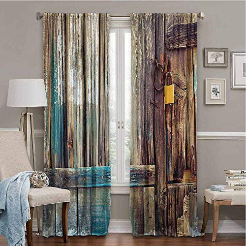 PGREA Room Darkening Curtains Rustic Aged Shed Door Backdrop with Color Details Country Living Exterior Pastoral Mansion Image Brown 63x108 Inch