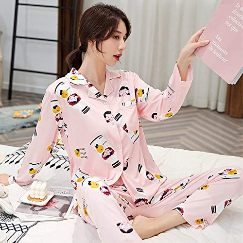 ADGSSJ Inicio Traje Ropa de Dormir, Tops de Dormir de Manga Larga de algodón paraMujer Pantalones Pijamas Mujer Trajes de Noche para Mujer Pijama Femme Coton Cute Sets, 6213, XL