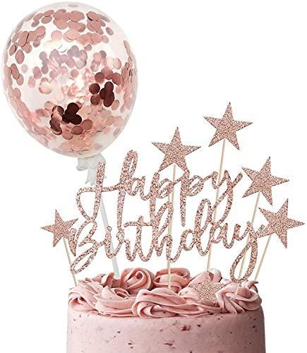 YUESUO Tartas de Cumpleaños Topper de Oro Rosa, Happy Birthday Decoracion Tarta, Cake Topper Estrellas, Decoracion Tartas Globos de Confeti