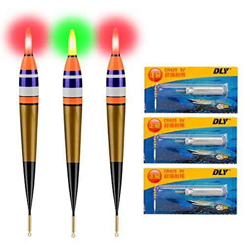 QualyQualy 3 Stück Angelposen LED Posen Angeln Zubehör Posen LED Leuchtpose Angelposen Set 3#