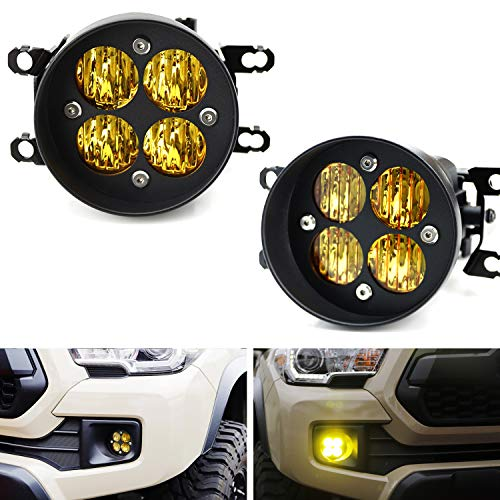 iJDMTOY Yellow Lens 24W High Power LED Wide Angle SAE Flood Beam Fog Light Kit w/Built-On Mounting Brackets Compatible With Toyota...