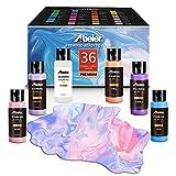Pouring - Juego de 36 botes de pintura acrílica de 60 ml, pintura líquida, no requiere mezcla, pintura para pintar sobre lienzo, vidrio, papel, madera, azulejos y piedras
