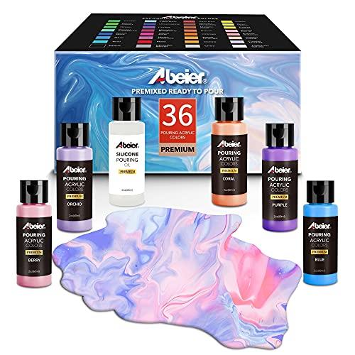 Pouring Acrylfarbe, 36 Stück-Set, 60 ml Flaschen mit vielen Farbtönen, flüssige Gießfarbe, kein Mischen erforderlich, Farbe zum Gießen auf Leinwand, Glas, Papier, Holz,...