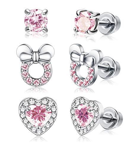 JOERICA 3 Pairs Screwback Earrings for Women Heart CZ Stud Stainless Steel Earrings Set