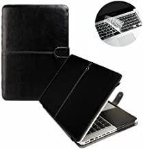 Se7enline Macbook Pro 13 Case PU Leather Book Case for MacBook Pro 13 inch A1278 with CD-Rom 2010-2012 released Sleeve Carrying Cover Folio Case with Transparent Keyboard Cover, Black