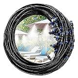 Ledph Kit Nebulizzatore Acqua da Esterno, DIY Irrigazione Orto Kit Completo, Nebulizzatore Terrazzo, Vaporizzatore Acqua da Esterno per Giardini, Serre e Trampolini, Gazebo,15m