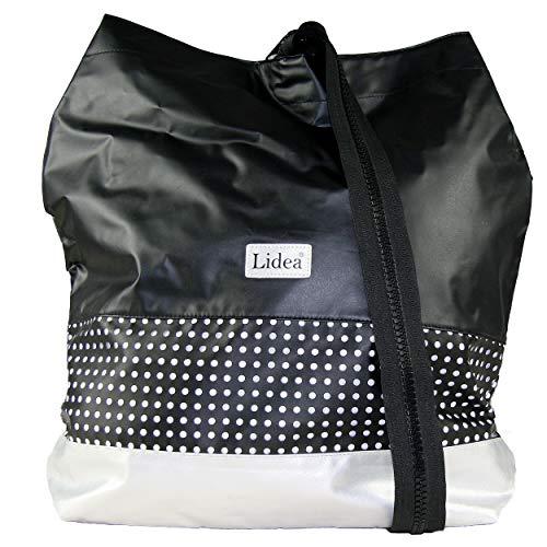 Lidea Capri Beachbag Rucksack Strandtasche 35 x 45 x 12 cm OS Black-Silver (077)