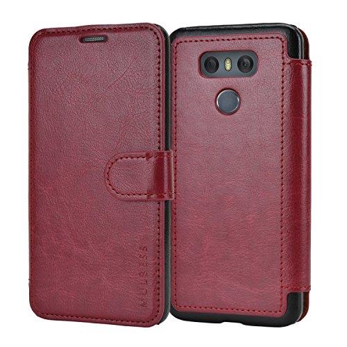 Mulbess Cover per LG G6, Custodia Pelle con Magnetica per LG G6 Caso, Vino Rosso