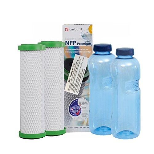 Sanquell GmbH 2 NFP-Premium D Carbonit Wasserfilter-Patronen | sehr hohe Filtration zur Reduktion von Blei- und Kupferbelastung | nachhaltig Gratis: 2 Blaue TRITAN-Flaschen 0,75l | frei von BPA
