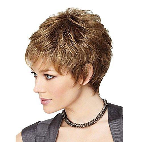 DSY nueva moda encantadora mujeres pelucas de cabello pelo humano peluca de aspecto Natural Peluca Corto Rizado Pelucas Para Fiesta, Cosplay, evento + 1libre wig055