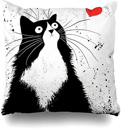 Doble Cojines Fundas 18' Cute Toon Black Fat Cat Red Heart Blanco Funda de Almohada Suave para la Piel