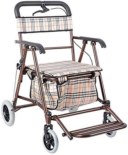 ZHANGYY Shopping Rollator Senioren Walker Lightweight Walking Frame Aid Mobilität Trolley Kinderwagen Roller Faltbar mit Sitz und Tasche 4 Räder für Eldly