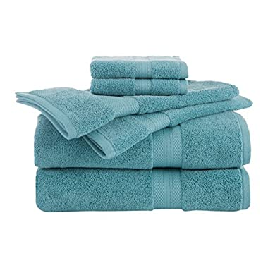Martex Abundance 6 Towels, Deluxe Quality, Home, Guest-Machine Washable, Soft, Absorbent, Superior, 6 Piece Set (2 Bath + 2 Hand + 2 Wash), Light Turquoise