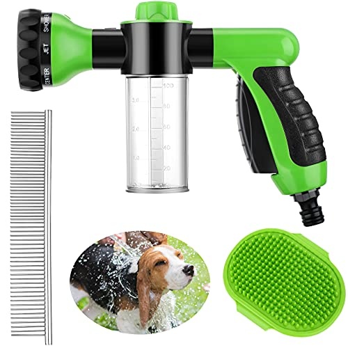 3 Pieces Pet Bathing Tool Set Include Foamer Washer, Dog Rubber Comb and Pet Stainless Steel Comb Spray Foamer Wash Foam Sprayer, Pet Bath Brush Rubber Dog Comb for Pets Showering (Green)