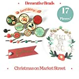 Christmas On Market Street Decorative Brads | Buttons, Dots & Ephemera | 17 Pieces!