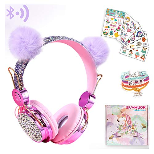 Unicorn Kids Bluetooth Headphones for Girls,Boys Teens,Wireless Cat Headset for Smartphones/Tablet/Laptop/PC/TV,with Mic and Adjustable Headband,Surprise Box is The for Birthday and Xmas.
