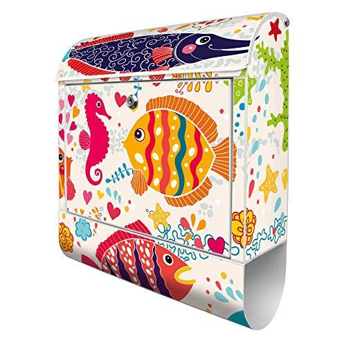 Banjado Design Briefkasten mit Motiv Lustige Fische   Stahl pulverbeschichtet mit Zeitungsrolle   Größe 39x47x14cm, 2 Schlüssel, A4 Einwurf, inkl. Montagematerial